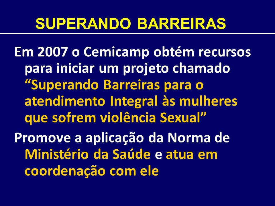 SUPERANDO BARREIRAS Em 2007 o Cemicamp obtém recursos para iniciar um projeto chamado Superando Barreiras para o atendimento Integral às mulheres que
