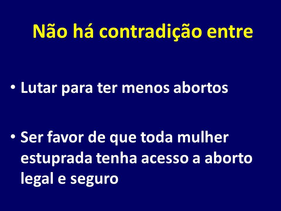 Não há contradição entre Lutar para ter menos abortos Ser favor de que toda mulher estuprada tenha acesso a aborto legal e seguro