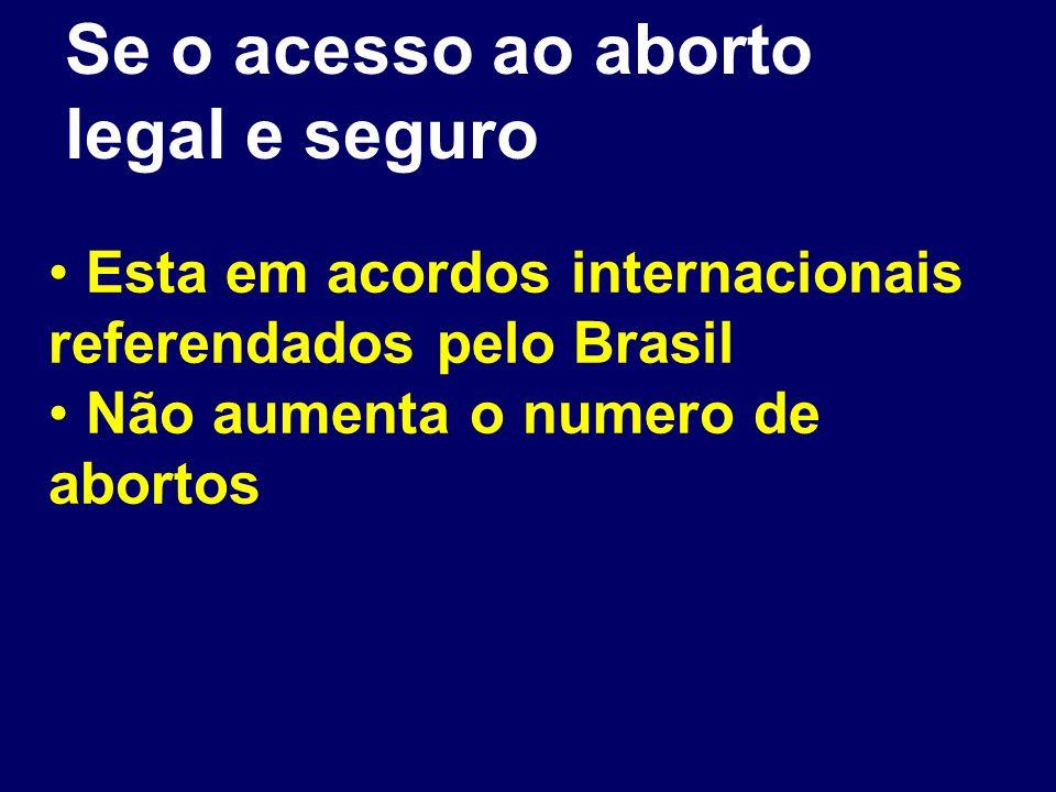 Se o acesso ao aborto legal e seguro Esta em acordos internacionais referendados pelo Brasil Não aumenta o numero de abortos