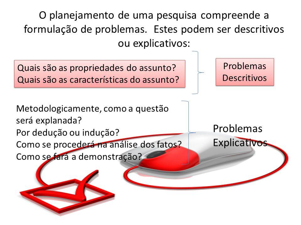 O planejamento de uma pesquisa compreende a formulação de problemas.