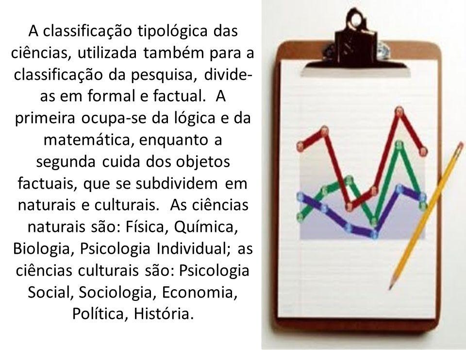 A classificação tipológica das ciências, utilizada também para a classificação da pesquisa, divide- as em formal e factual.