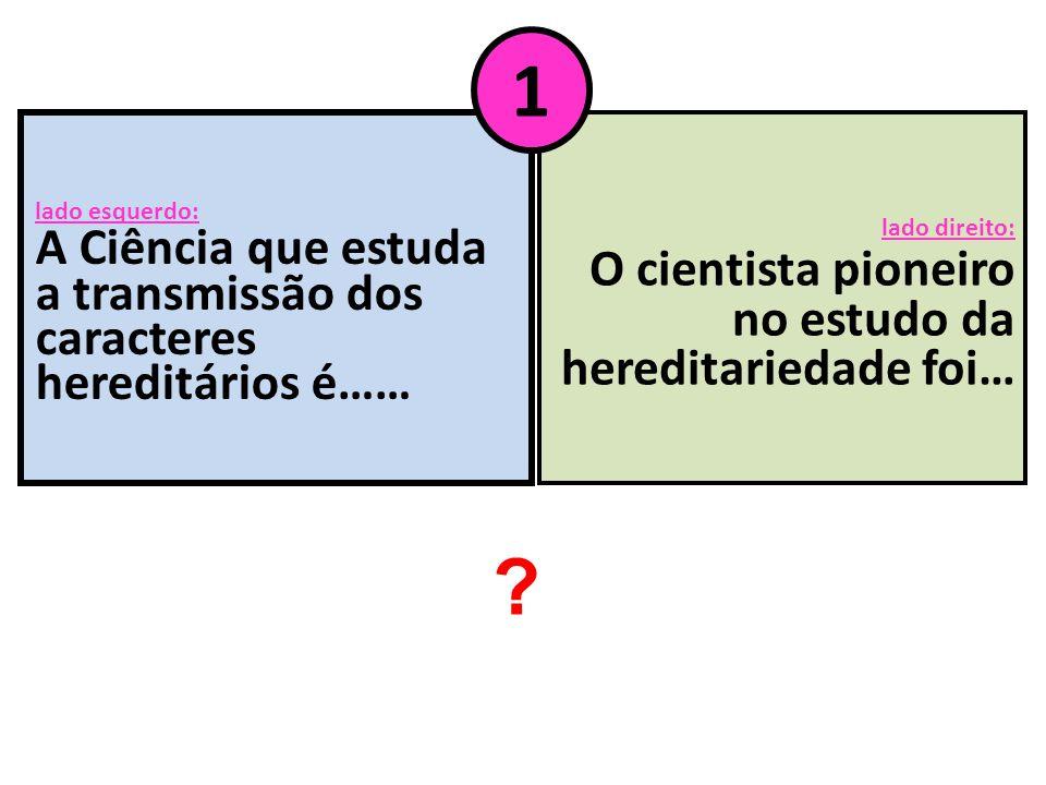 lado esquerdo: A Ciência que estuda a transmissão dos caracteres hereditários é…… lado direito: O cientista pioneiro no estudo da hereditariedade foi…