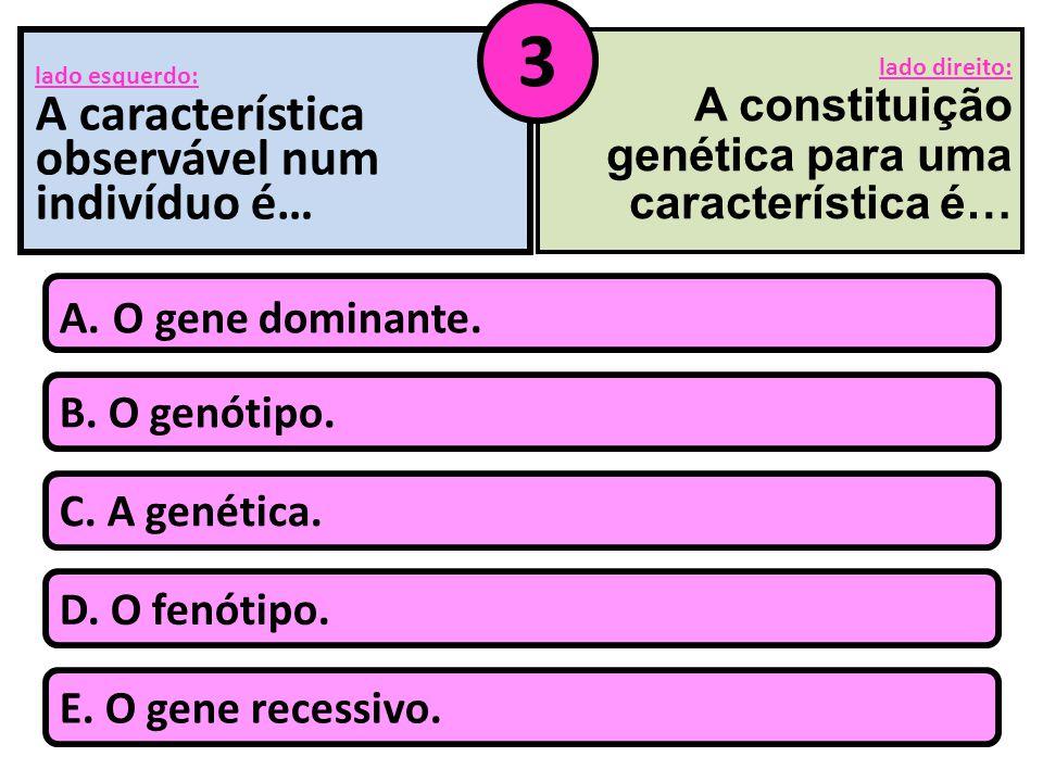 lado esquerdo: A característica observável num indivíduo é… B. O genótipo. A. O gene dominante. C. A genética. D. O fenótipo. E. O gene recessivo. lad