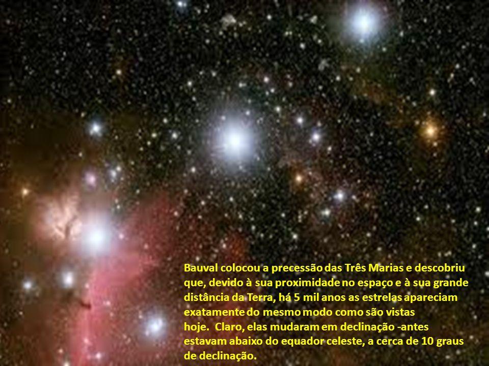 Inicialmente Bauval usou o programa de astronomia Skyglobe para checar o alinhamento das estrelas em 2450 A.C. O software foi suficiente para clarear