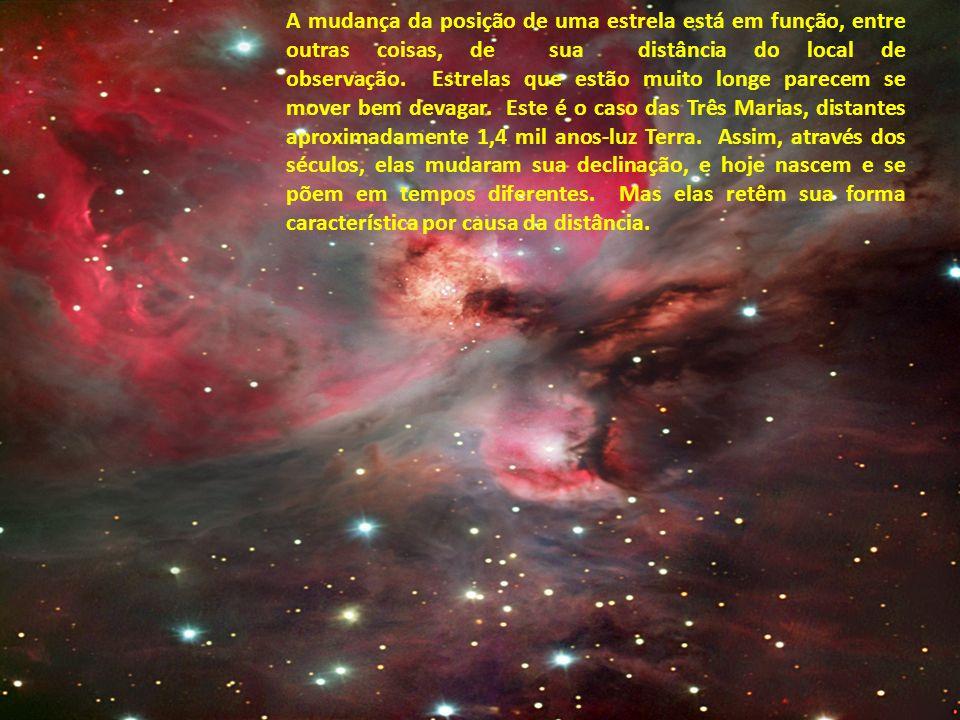 Outra mudança na posição das estrelas é provocada pela expansão do universo. As estrelas não estão paradas no espaço - elas têm o que se chama de movi