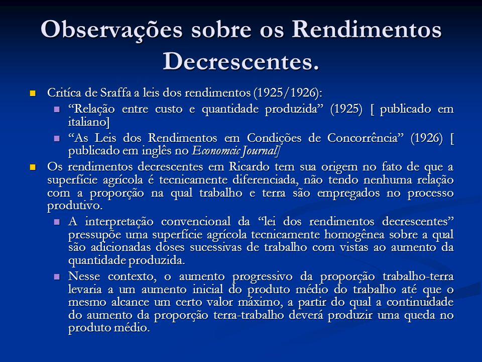 Observações sobre os Rendimentos Decrescentes. Critíca de Sraffa a leis dos rendimentos (1925/1926): Critíca de Sraffa a leis dos rendimentos (1925/19