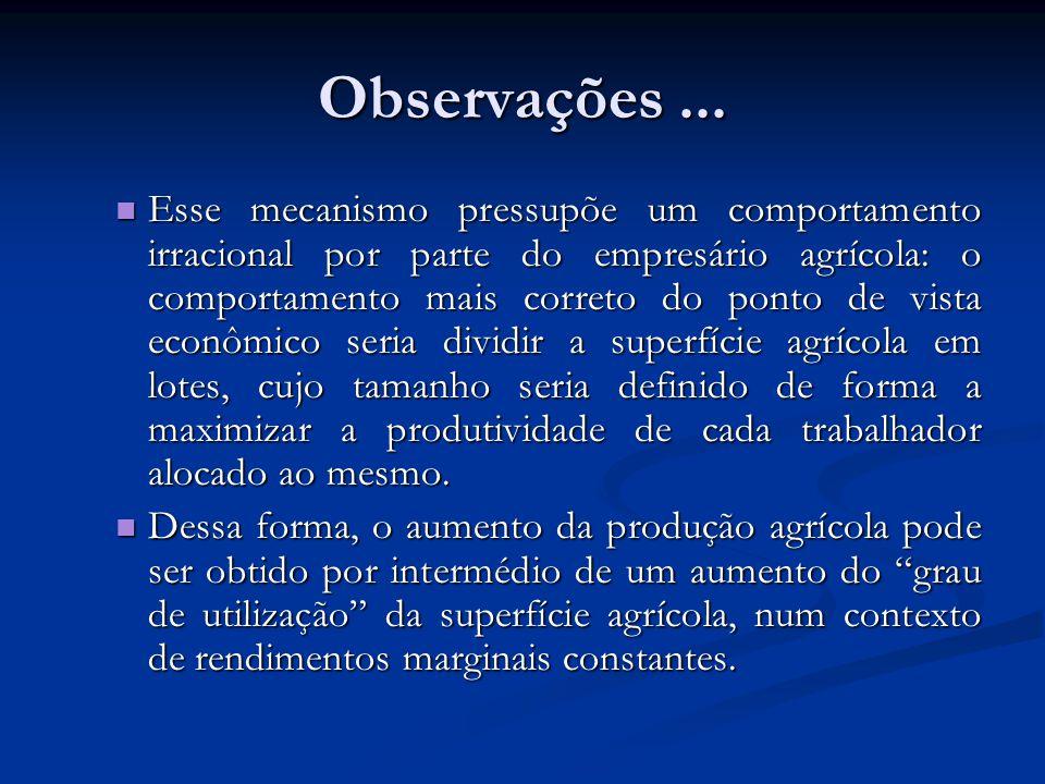 Observações... Esse mecanismo pressupõe um comportamento irracional por parte do empresário agrícola: o comportamento mais correto do ponto de vista e