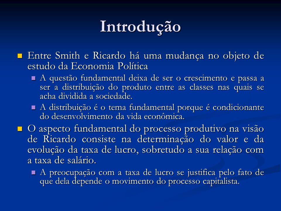 Introdução Entre Smith e Ricardo há uma mudança no objeto de estudo da Economia Política Entre Smith e Ricardo há uma mudança no objeto de estudo da E