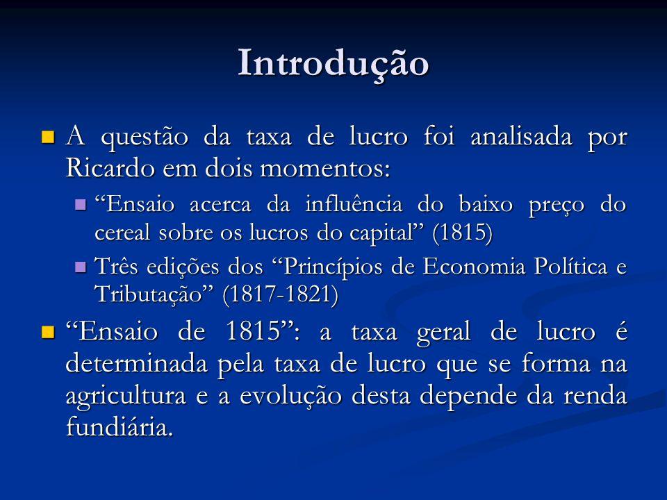 Introdução A questão da taxa de lucro foi analisada por Ricardo em dois momentos: A questão da taxa de lucro foi analisada por Ricardo em dois momento