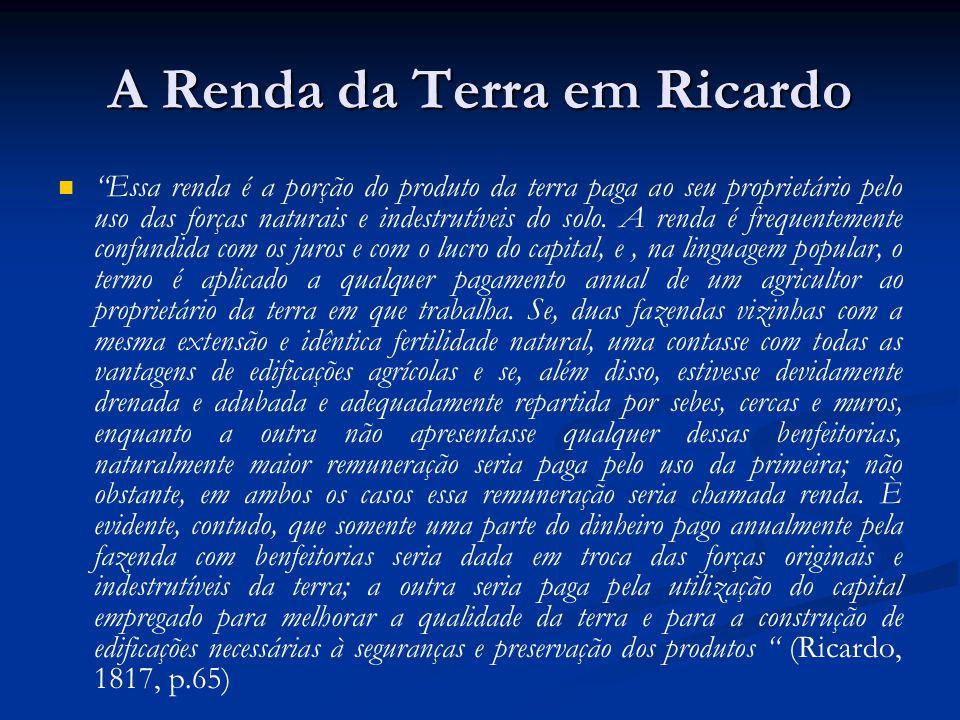 A Renda da Terra em Ricardo Essa renda é a porção do produto da terra paga ao seu proprietário pelo uso das forças naturais e indestrutíveis do solo.