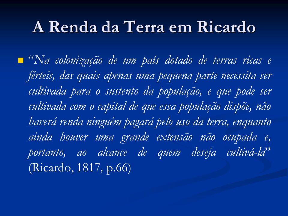 A Renda da Terra em Ricardo Na colonização de um país dotado de terras ricas e férteis, das quais apenas uma pequena parte necessita ser cultivada par