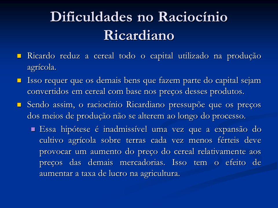 Dificuldades no Raciocínio Ricardiano Ricardo reduz a cereal todo o capital utilizado na produção agrícola. Ricardo reduz a cereal todo o capital util