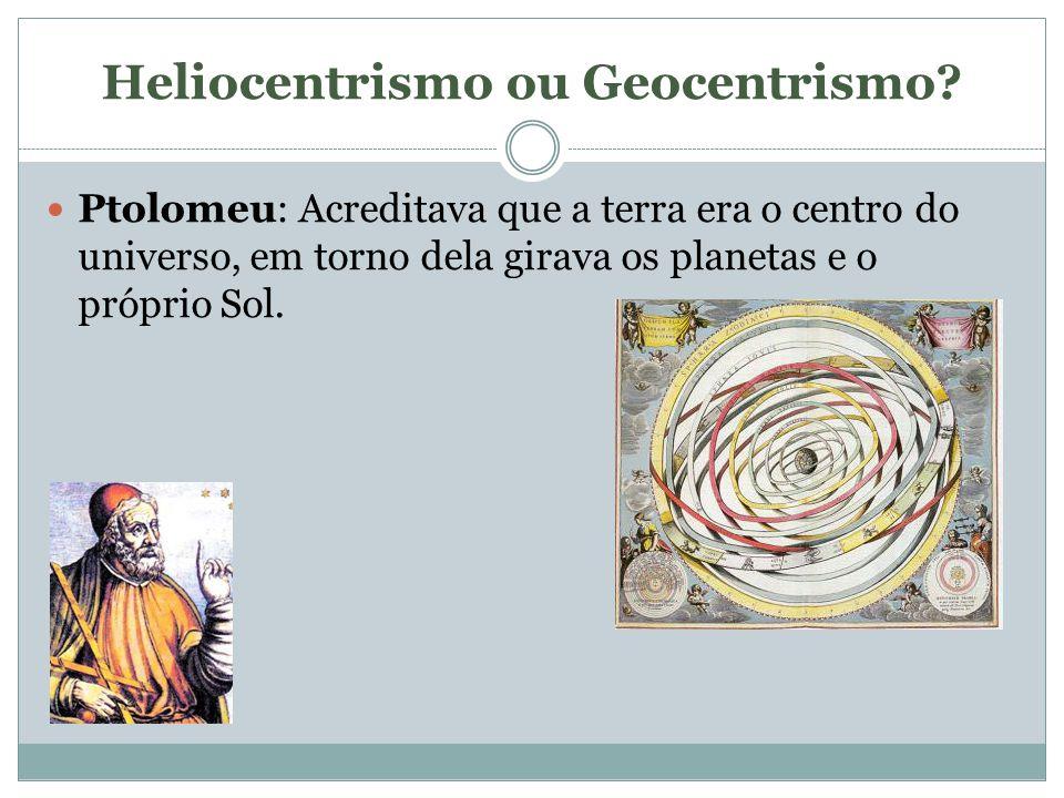 Heliocentrismo ou Geocentrismo? Ptolomeu: Acreditava que a terra era o centro do universo, em torno dela girava os planetas e o próprio Sol.