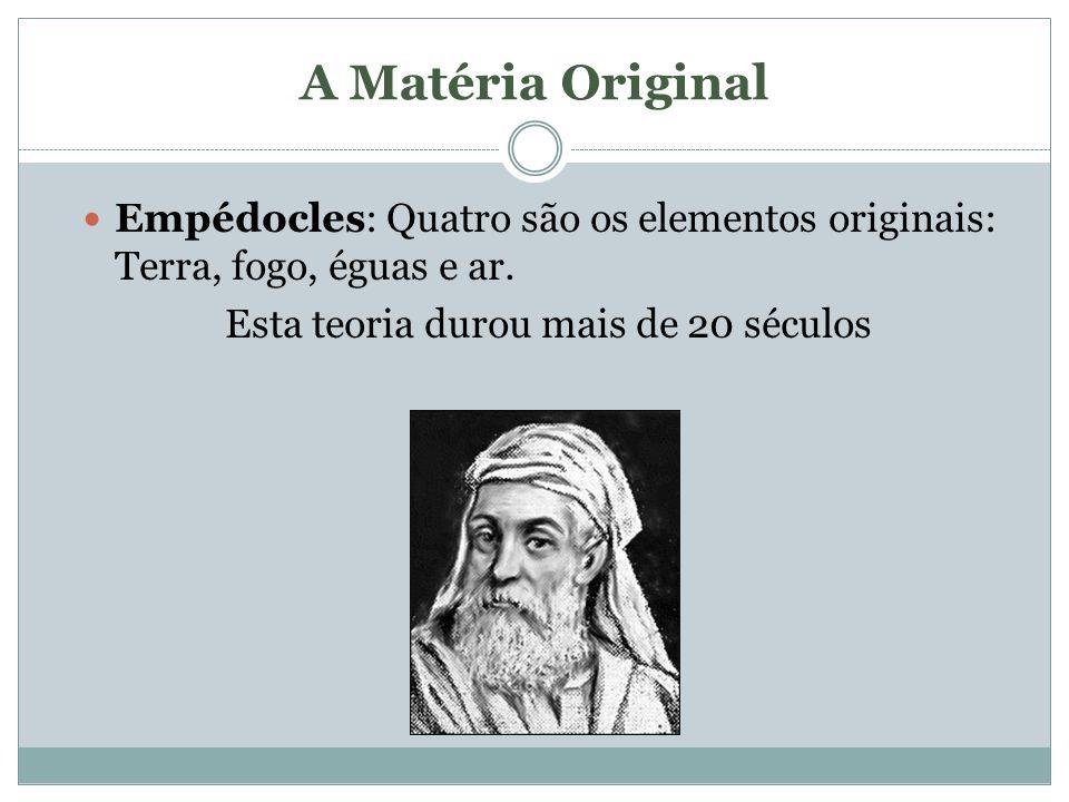 A Matéria Original Empédocles: Quatro são os elementos originais: Terra, fogo, éguas e ar. Esta teoria durou mais de 20 séculos
