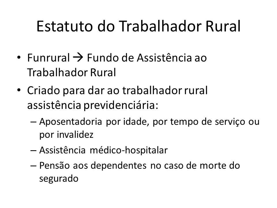 Funrural Fundo de Assistência ao Trabalhador Rural Criado para dar ao trabalhador rural assistência previdenciária: – Aposentadoria por idade, por tem