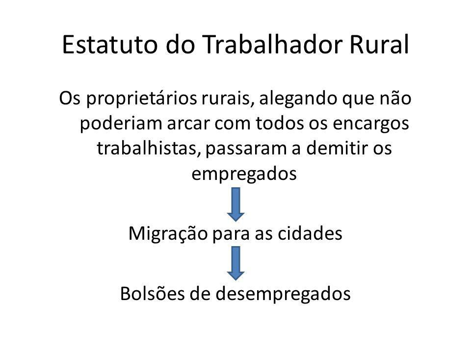 Estatuto do Trabalhador Rural Os proprietários rurais, alegando que não poderiam arcar com todos os encargos trabalhistas, passaram a demitir os empre