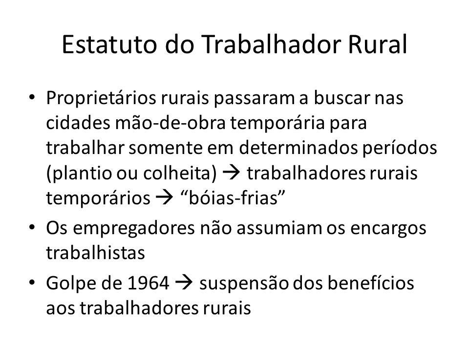 Estatuto do Trabalhador Rural Proprietários rurais passaram a buscar nas cidades mão-de-obra temporária para trabalhar somente em determinados período