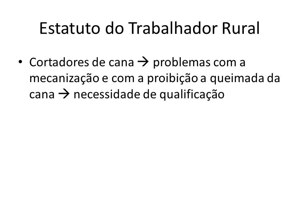 Estatuto do Trabalhador Rural Cortadores de cana problemas com a mecanização e com a proibição a queimada da cana necessidade de qualificação