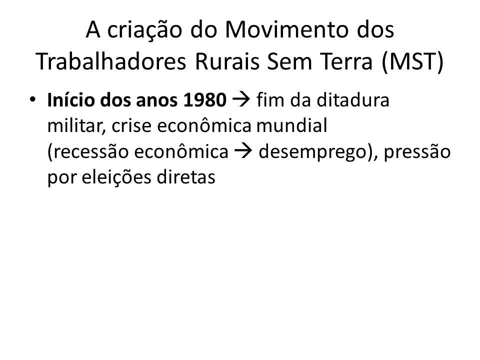 A criação do Movimento dos Trabalhadores Rurais Sem Terra (MST) Início dos anos 1980 fim da ditadura militar, crise econômica mundial (recessão econôm