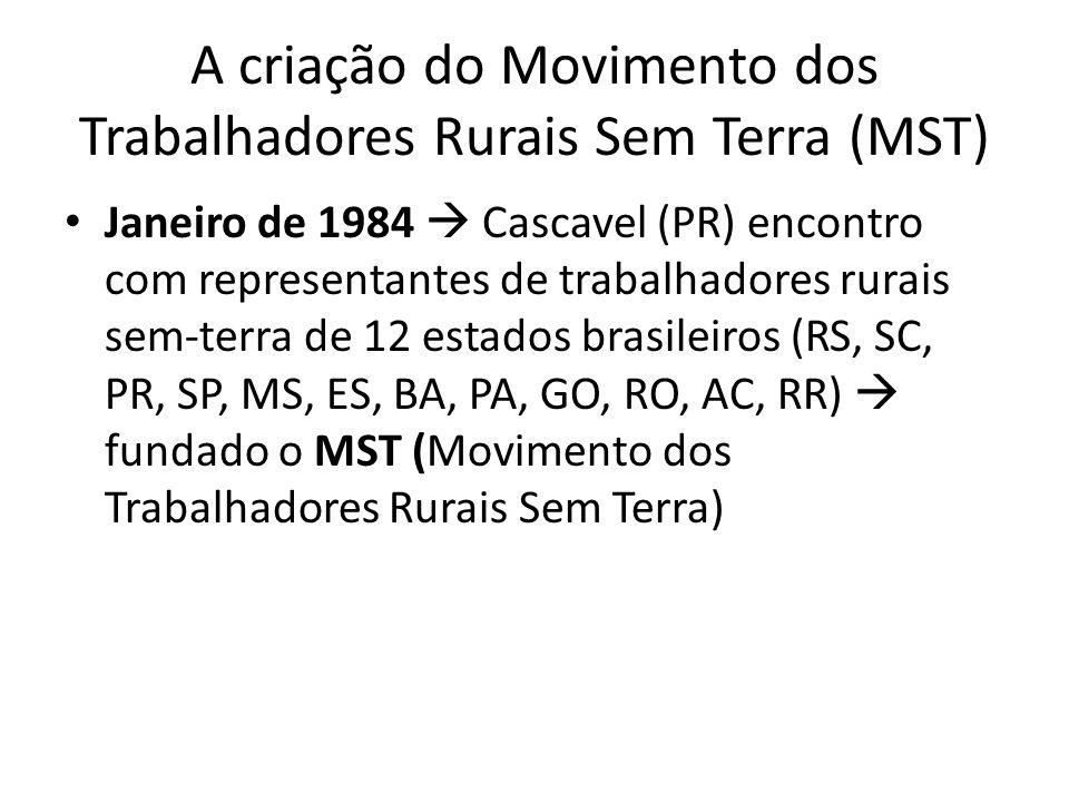 A criação do Movimento dos Trabalhadores Rurais Sem Terra (MST) Janeiro de 1984 Cascavel (PR) encontro com representantes de trabalhadores rurais sem-