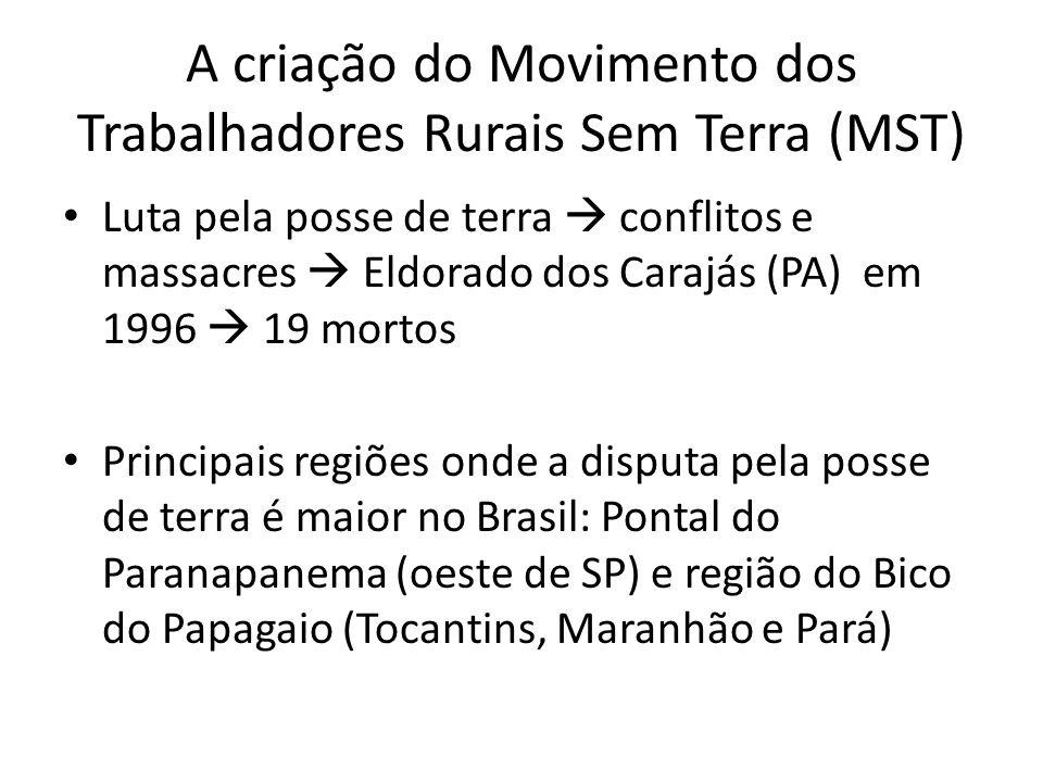 A criação do Movimento dos Trabalhadores Rurais Sem Terra (MST) Luta pela posse de terra conflitos e massacres Eldorado dos Carajás (PA) em 1996 19 mo