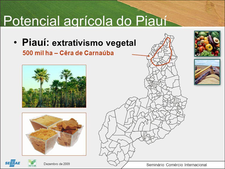 Potencial agrícola do Piauí Piauí: extrativismo vegetal Seminário Comércio Internacional 500 mil ha – Cêra de Carnaúba Dezembro de 2009