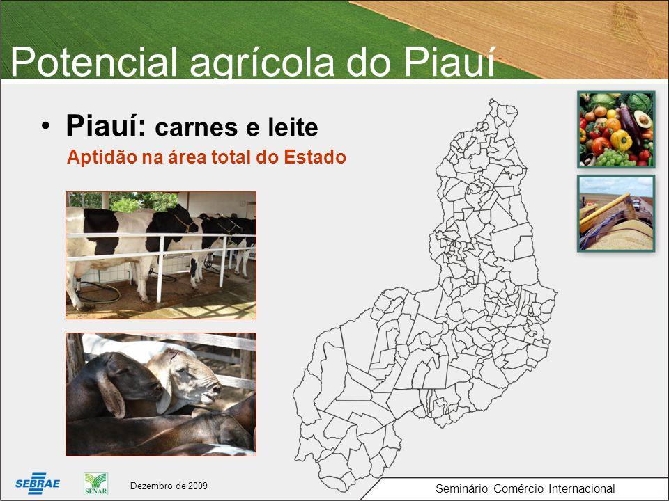 Potencial agrícola do Piauí Piauí: carnes e leite Seminário Comércio Internacional Aptidão na área total do Estado Dezembro de 2009