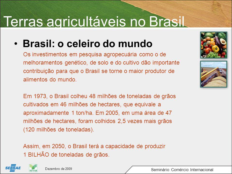 Terras agricultáveis no Brasil Brasil: o celeiro do mundo Os investimentos em pesquisa agropecuária como o de melhoramentos genético, de solo e do cultivo dão importante contribuição para que o Brasil se torne o maior produtor de alimentos do mundo.