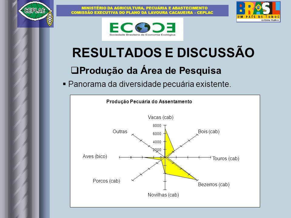 RESULTADOS E DISCUSSÃO Panorama da diversidade pecuária existente.