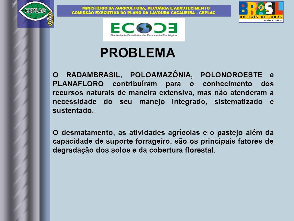 PROBLEMA O RADAMBRASIL, POLOAMAZÔNIA, POLONOROESTE e PLANAFLORO contribuíram para o conhecimento dos recursos naturais de maneira extensiva, mas não atenderam a necessidade do seu manejo integrado, sistematizado e sustentado.