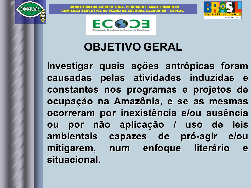 Investigar quais ações antrópicas foram causadas pelas atividades induzidas e constantes nos programas e projetos de ocupação na Amazônia, e se as mes
