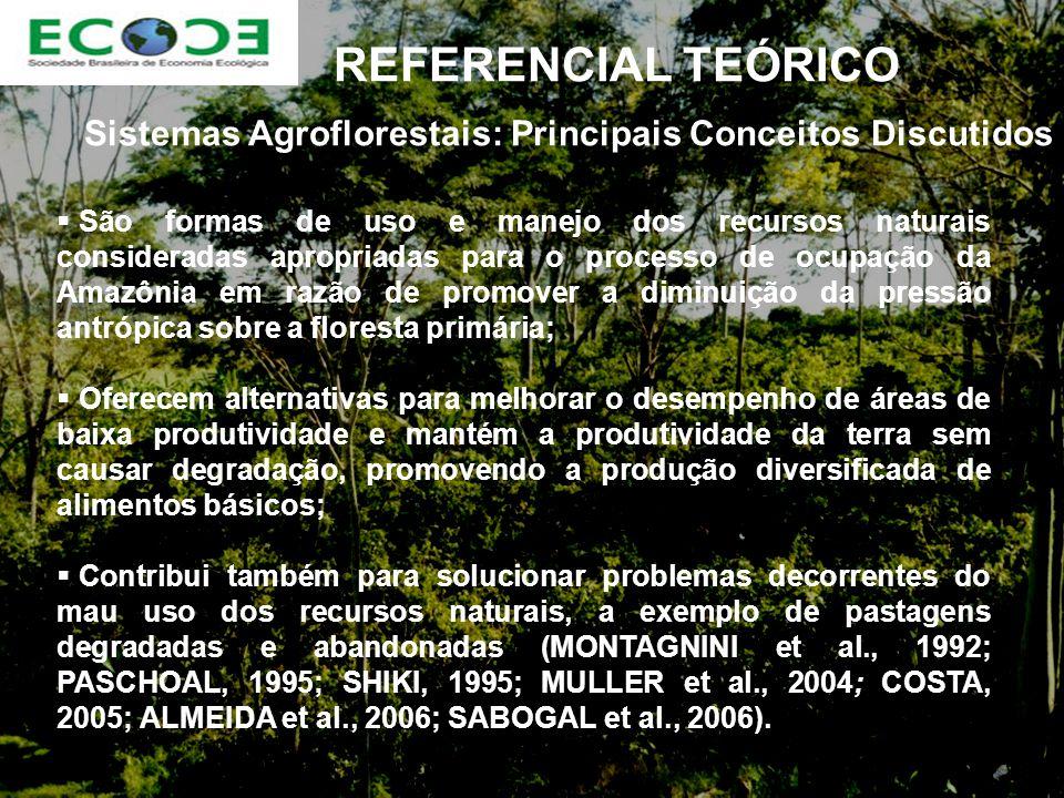 REFERENCIAL TEÓRICO Sistemas Agroflorestais: Principais Conceitos Discutidos São formas de uso e manejo dos recursos naturais consideradas apropriadas para o processo de ocupação da Amazônia em razão de promover a diminuição da pressão antrópica sobre a floresta primária; Oferecem alternativas para melhorar o desempenho de áreas de baixa produtividade e mantém a produtividade da terra sem causar degradação, promovendo a produção diversificada de alimentos básicos; Contribui também para solucionar problemas decorrentes do mau uso dos recursos naturais, a exemplo de pastagens degradadas e abandonadas (MONTAGNINI et al., 1992; PASCHOAL, 1995; SHIKI, 1995; MULLER et al., 2004; COSTA, 2005; ALMEIDA et al., 2006; SABOGAL et al., 2006).
