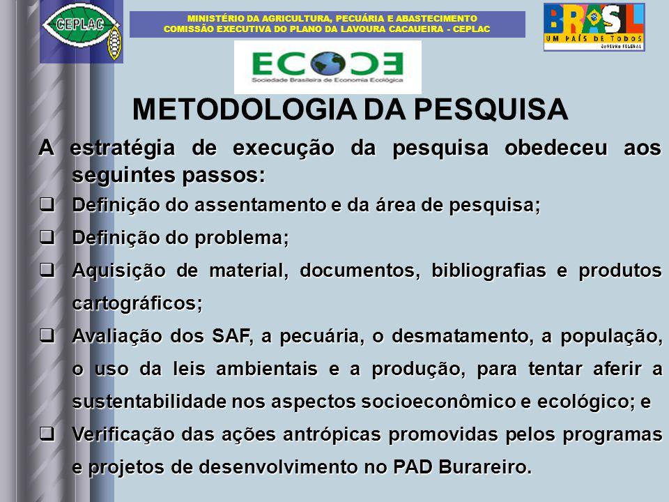 METODOLOGIA DA PESQUISA A estratégia de execução da pesquisa obedeceu aos seguintes passos: Definição do assentamento e da área de pesquisa; Definição