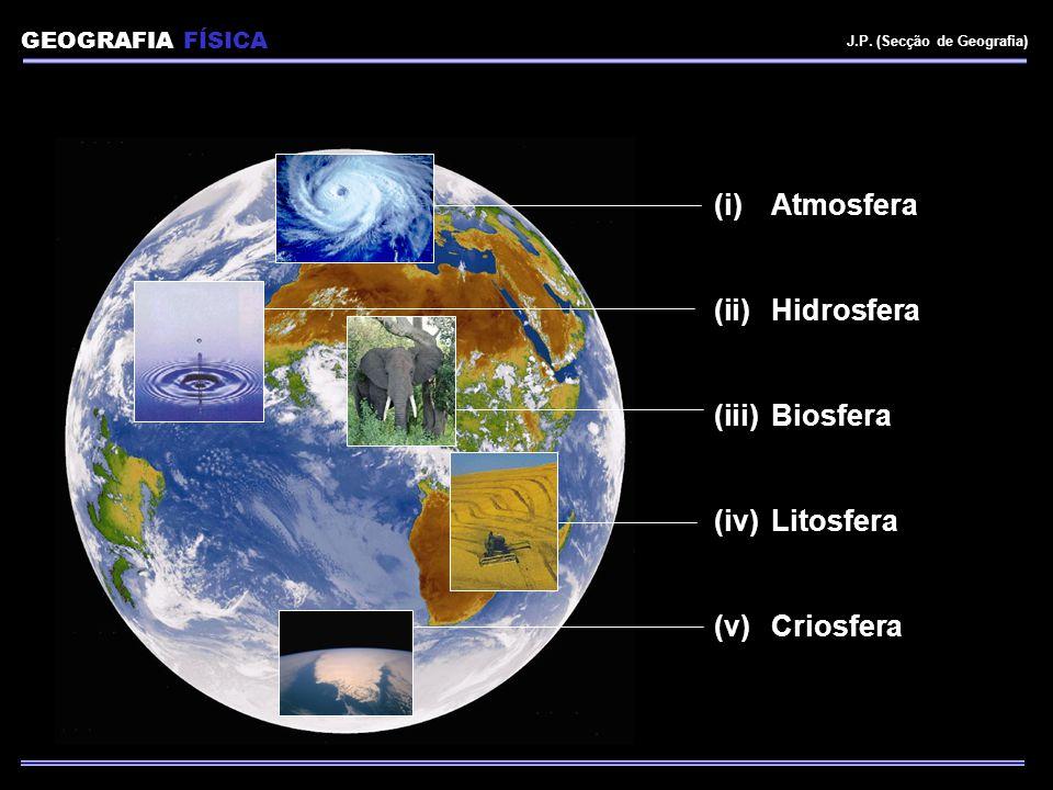 GEOGRAFIA FÍSICA J.P. (Secção de Geografia) (i)Atmosfera (ii)Hidrosfera (iii)Biosfera (iv)Litosfera (v)Criosfera