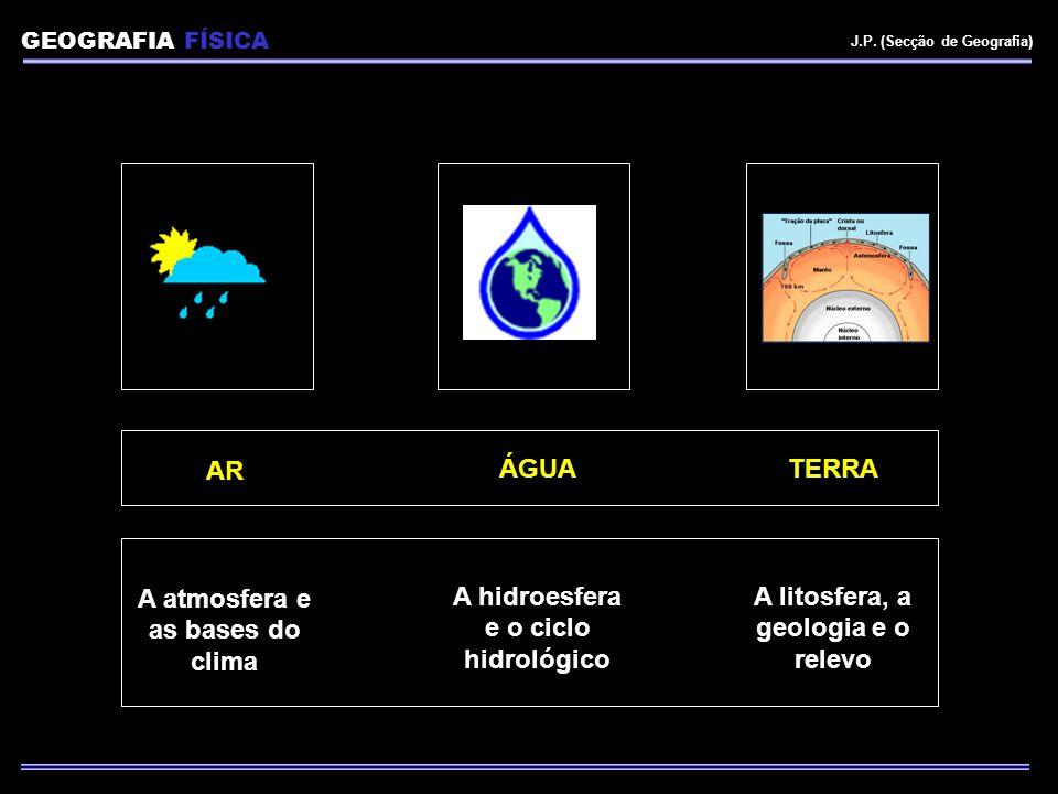 AR A atmosfera e as bases do clima ÁGUA A hidroesfera e o ciclo hidrológico TERRA A litosfera, a geologia e o relevo GEOGRAFIA FÍSICA J.P. (Secção de