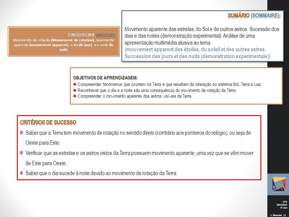CFQ 2012/2013 7º Ano I. Almeida |1 C ONCEITOS CHAVE ( MOTS CLEFS ) : Movimento de rotação (Mouvement de rotation), movimento aparente (mouvement appar