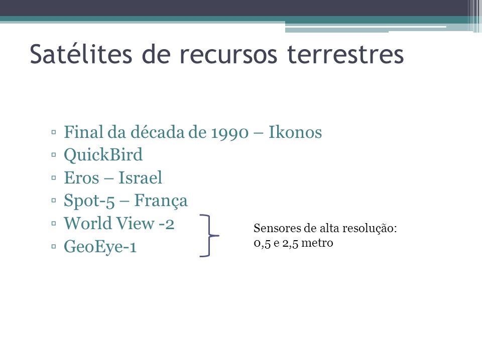 Satélites de recursos terrestres Final da década de 1990 – Ikonos QuickBird Eros – Israel Spot-5 – França World View -2 GeoEye-1 Sensores de alta resolução: 0,5 e 2,5 metro