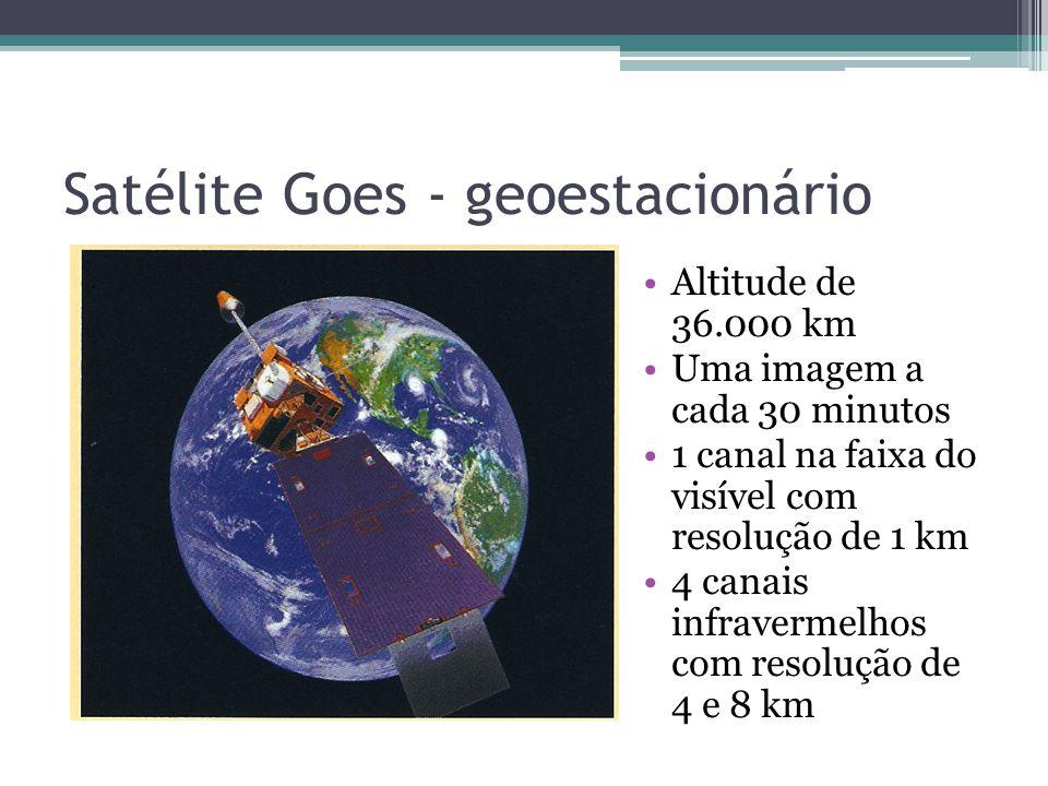 Satélite Goes - geoestacionário Altitude de 36.000 km Uma imagem a cada 30 minutos 1 canal na faixa do visível com resolução de 1 km 4 canais infravermelhos com resolução de 4 e 8 km