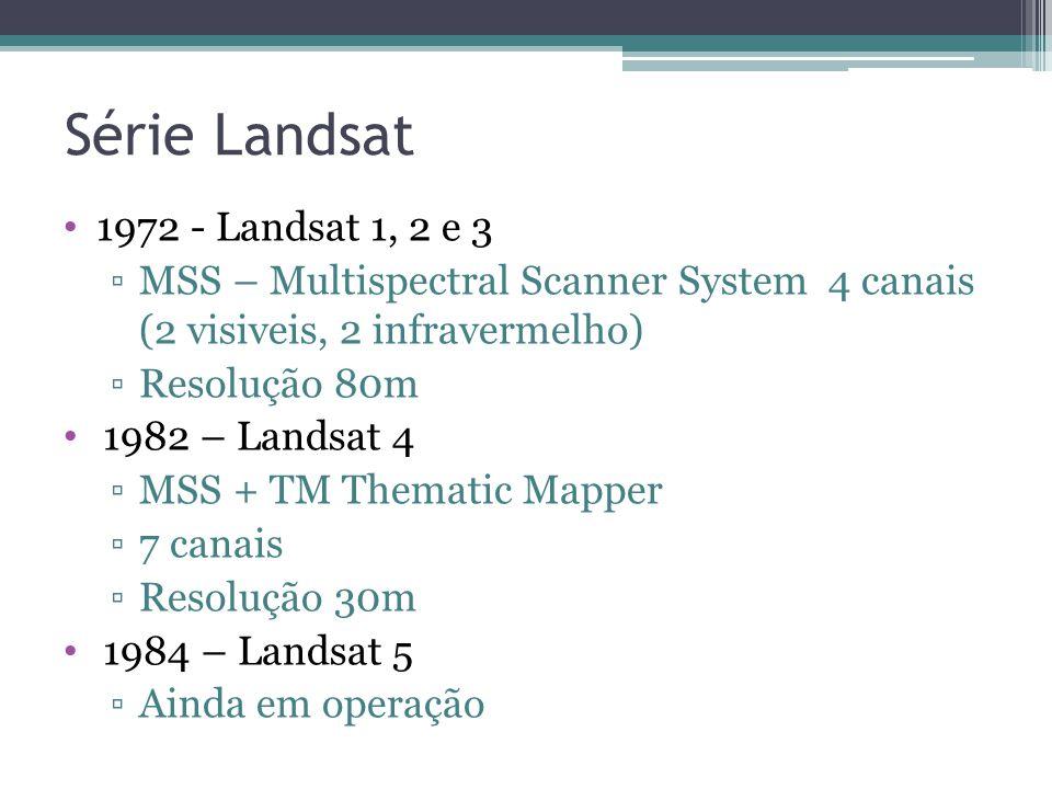 1972 - Landsat 1, 2 e 3 MSS – Multispectral Scanner System 4 canais (2 visiveis, 2 infravermelho) Resolução 80m 1982 – Landsat 4 MSS + TM Thematic Mapper 7 canais Resolução 30m 1984 – Landsat 5 Ainda em operação Série Landsat