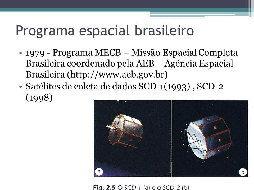 Programa espacial brasileiro 1979 - Programa MECB – Missão Espacial Completa Brasileira coordenado pela AEB – Agência Espacial Brasileira (http://www.aeb.gov.br) Satélites de coleta de dados SCD-1(1993), SCD-2 (1998)
