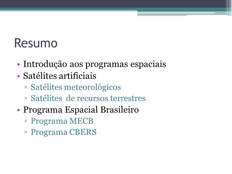 Resumo Introdução aos programas espaciais Satélites artificiais Satélites meteorológicos Satélites de recursos terrestres Programa Espacial Brasileiro Programa MECB Programa CBERS