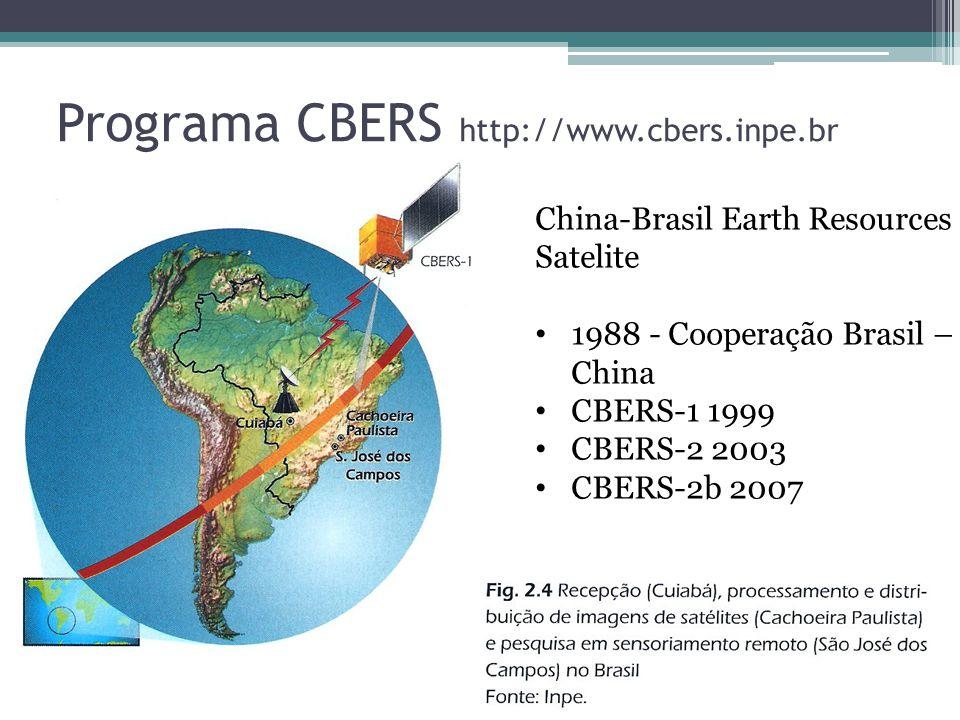 Programa CBERS http://www.cbers.inpe.br China-Brasil Earth Resources Satelite 1988 - Cooperação Brasil – China CBERS-1 1999 CBERS-2 2003 CBERS-2b 2007