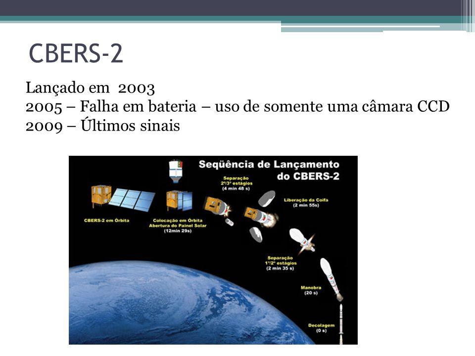 CBERS-2 Lançado em 2003 2005 – Falha em bateria – uso de somente uma câmara CCD 2009 – Últimos sinais