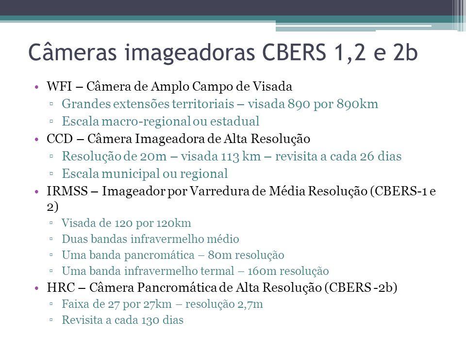 Câmeras imageadoras CBERS 1,2 e 2b WFI – Câmera de Amplo Campo de Visada Grandes extensões territoriais – visada 890 por 890km Escala macro-regional ou estadual CCD – Câmera Imageadora de Alta Resolução Resolução de 20m – visada 113 km – revisita a cada 26 dias Escala municipal ou regional IRMSS – Imageador por Varredura de Média Resolução (CBERS-1 e 2) Visada de 120 por 120km Duas bandas infravermelho médio Uma banda pancromática – 80m resolução Uma banda infravermelho termal – 160m resolução HRC – Câmera Pancromática de Alta Resolução (CBERS -2b) Faixa de 27 por 27km – resolução 2,7m Revisita a cada 130 dias