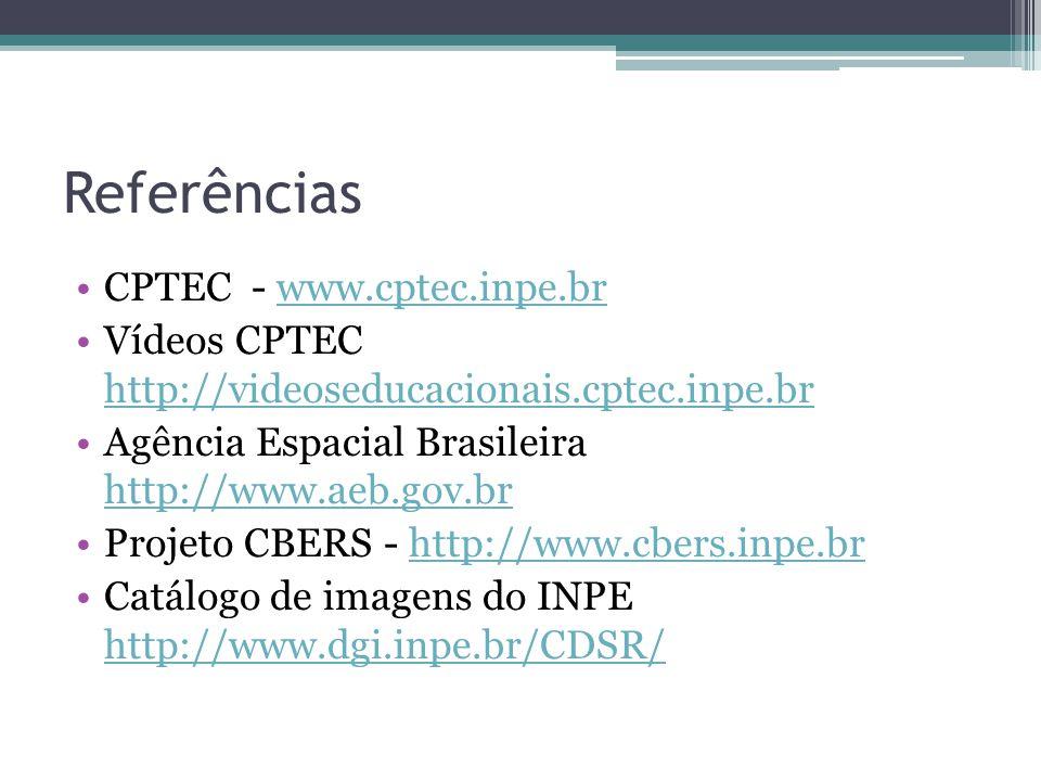 Referências CPTEC - www.cptec.inpe.brwww.cptec.inpe.br Vídeos CPTEC http://videoseducacionais.cptec.inpe.br http://videoseducacionais.cptec.inpe.br Agência Espacial Brasileira http://www.aeb.gov.br http://www.aeb.gov.br Projeto CBERS - http://www.cbers.inpe.brhttp://www.cbers.inpe.br Catálogo de imagens do INPE http://www.dgi.inpe.br/CDSR/ http://www.dgi.inpe.br/CDSR/