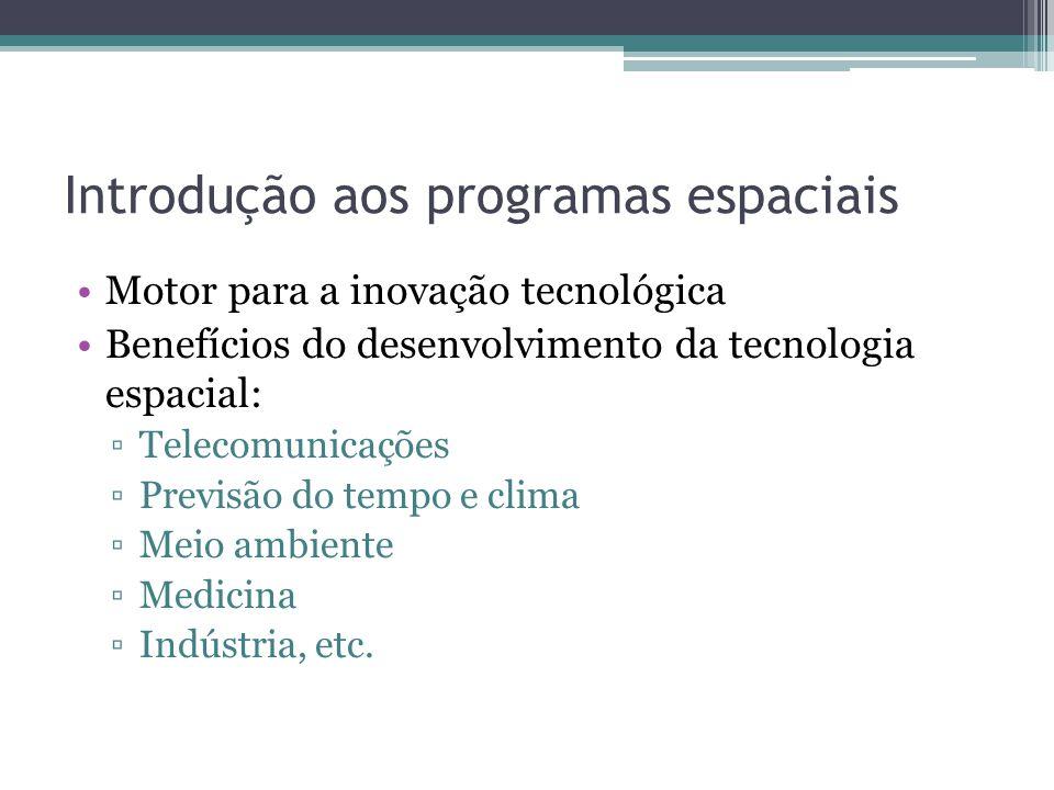Introdução aos programas espaciais Motor para a inovação tecnológica Benefícios do desenvolvimento da tecnologia espacial: Telecomunicações Previsão do tempo e clima Meio ambiente Medicina Indústria, etc.