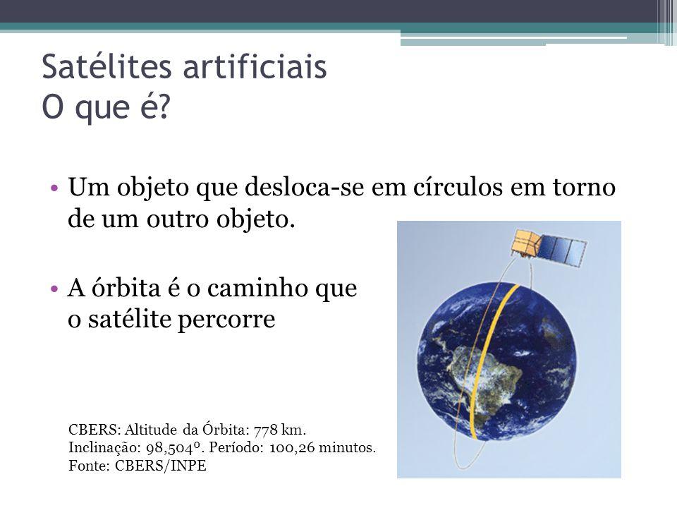 Satélites artificiais O que é.Um objeto que desloca-se em círculos em torno de um outro objeto.