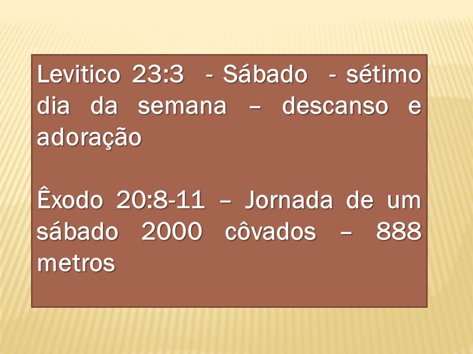 Levitico 23:3 - Sábado - sétimo dia da semana – descanso e adoração Êxodo 20:8-11 – Jornada de um sábado 2000 côvados – 888 metros