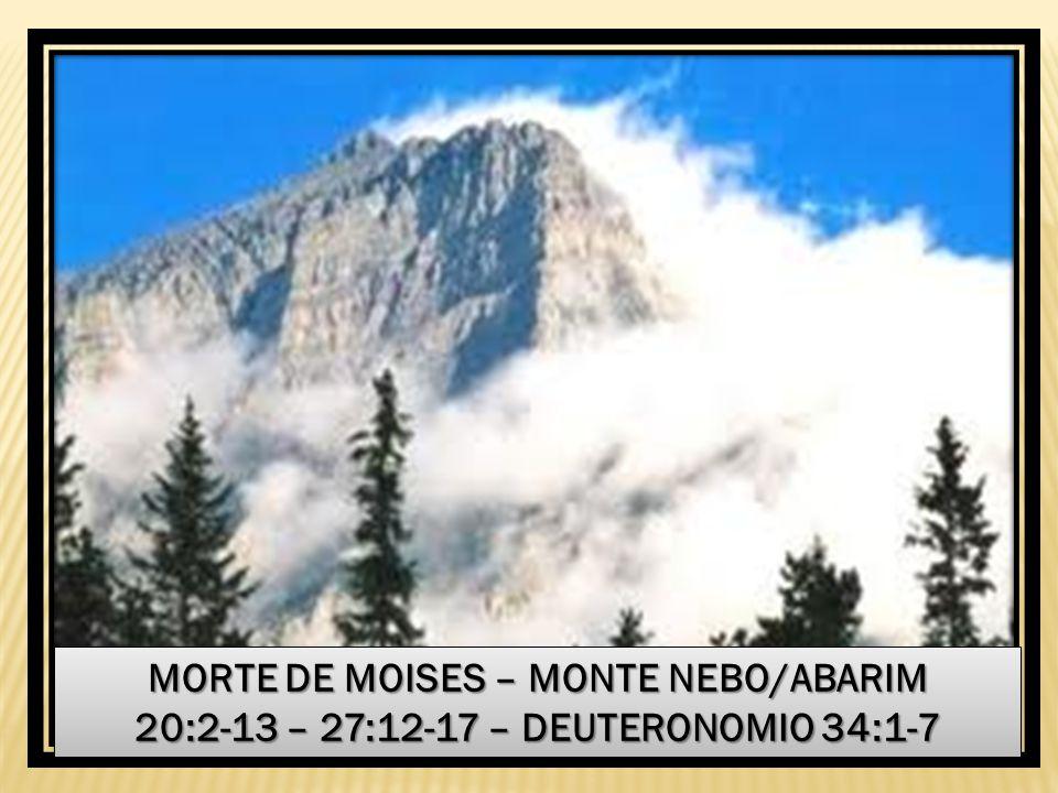 MORTE DE MOISES – MONTE NEBO/ABARIM 20:2-13 – 27:12-17 – DEUTERONOMIO 34:1-7 MORTE DE MOISES – MONTE NEBO/ABARIM 20:2-13 – 27:12-17 – DEUTERONOMIO 34: