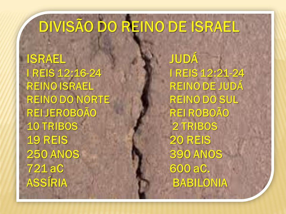 DIVISÃO DO REINO DE ISRAEL DIVISÃO DO REINO DE ISRAEL ISRAEL JUDÁ I REIS 12:16-24 I REIS 12:21-24 REINO ISRAEL REINO DE JUDÁ REINO DO NORTE REINO DO S